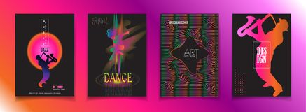 Jazz music dance festival travel sign. Jazz music Festival 2018 music, jazz, pop, disco, dance, club, Holiday colorful modern poster, flyer, brochure cover stock illustration