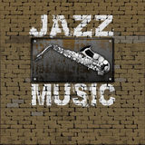 Jazz Music design old brick wall saxophone Stock Photos