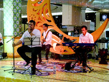 Jazz music. Entertain visitors mall in the city of Solo, Central Java, Indonesia Royalty Free Stock Images