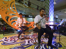 Jazz music. Entertain visitors mall in the city of Solo, Central Java, Indonesia Royalty Free Stock Image