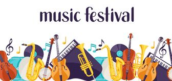 Jazz music festival banner with musical instruments.  Stock Image