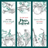 Jazz music festival banners, musical instruments Stock Image