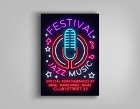 Jazz Music Festival Design Template Typography in Neon Style. Neon Sign, Bright Advertising, Flyer Invitation to the. Party, Festival, Jazz Music Concert Royalty Free Stock Photography