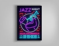 Jazz Music Festival Design Template Typography in Neon Style. Neon Sign, Bright Advertising, Flyer Invitation to the. Party, Festival, Jazz Music Concert Stock Images