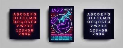 Jazz Music Festival Design Template Typography in Neon Style. Neon Sign, Bright Advertising, Flyer Invitation to the. Party, Festival, Jazz Music Concert Royalty Free Stock Photos