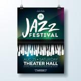 Jazz Music Festival Flyer Design com o teclado de piano no fundo escuro Molde da ilustração do partido do vetor para ilustração stock