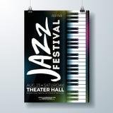 Jazz Music Festival Flyer Design med pianotangentbordet på mörk bakgrund Mall för vektorpartiillustration för stock illustrationer
