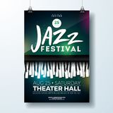 Jazz Music Festival Flyer Design with Piano Keyboard on Dark Background. Vector Party Illustration Template for. Invitation Poster, Promotional Banner, Brochure stock illustration