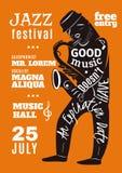 Jazz Music Festival Lettering Silhouette affisch Arkivbilder