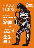 Jazz Music Festival Lettering Silhouette Poster Stock Images