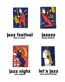 Jazz music festival logo set. Naive shabby style. 2d vector illustration Stock Image