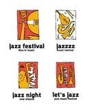 Jazz music festival logo set. Naive shabby style. 2d vector illustration Royalty Free Stock Photography
