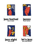 Jazz music festival logo set. Naive shabby style. 2d vector illustration Royalty Free Stock Photos