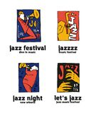 Jazz music festival logo set. Naive shabby style. 2d vector illustration Royalty Free Stock Photo