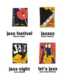 Jazz music festival logo set. Naive shabby style. 2d vector illustration Royalty Free Stock Images