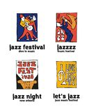 Jazz music festival logo set. Naive shabby style. 2d vector illustration Stock Photo