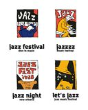 Jazz music festival logo set. Naive shabby style. 2d vector illustration Royalty Free Stock Image