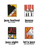 Jazz music festival logo set. Naive shabby style. 2d vector illustration Stock Photography