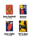 Jazz music festival logo set. Naive shabby style. 2d vector illustration Stock Images