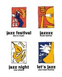 Jazz music festival logo set. Naive shabby style. 2d vector illustration Stock Photos