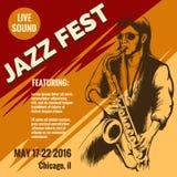 Jazz Music Festival Poster Illustration Libre de Droits
