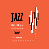 Jazz music festival, poster background template. Keyboard with music keys. Flyer Vector design Royalty Free Stock Photos