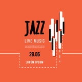 Jazz music festival, poster background template. Keyboard with music keys. Flyer Vector design Stock Photo