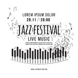 Jazz music festival, poster background template. keyboard with music notes. vector Stock Photos