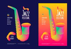 Jazz music festival. Poster design template with gradient stylized saxophone. Vector illustration flyer for jazz concert stock illustration