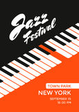 Jazz music festival. Poster design template. Piano keys. Vector illustration placard for jazz concert royalty free illustration