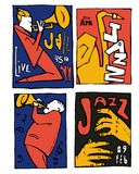 Jazz music festival poster set. Naive shabby style. 2d vector illustration Stock Image