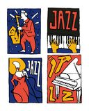 Jazz music festival poster set. Naive shabby style. 2d vector illustration Royalty Free Stock Photo