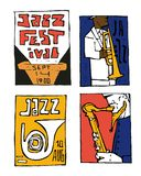 Jazz music festival poster set. Naive shabby style. 2d vector illustration Stock Photos