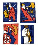 Jazz music festival poster set. Naive shabby style. 2d vector illustration Stock Photo