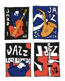 Jazz music festival poster set. Naive shabby style. 2d vector illustration Royalty Free Stock Image