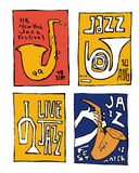 Jazz music festival poster set. Naive shabby style. 2d vector illustration Royalty Free Stock Photography