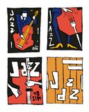 Jazz music festival poster set. Naive shabby style. 2d vector illustration Stock Images