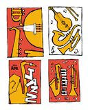 Jazz music festival poster set. Naive shabby style. 2d vector illustration Royalty Free Stock Images