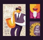 Jazz Music Festival Poster Template, aletta di filatoio, cartello Insegna musicale di evento di concerto con il musicista e Canta royalty illustrazione gratis