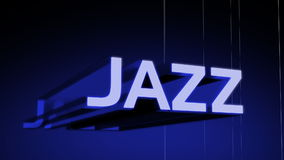 Jazz Music Genre Header. In 3D animating in and rotating with a wireframe rotating background. Last 10 seconds loop. HD 1080i stock footage