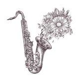 Jazz Music Hand-dragit skissa en saxofon, en saxofon och blommor också vektor för coreldrawillustration vektor illustrationer