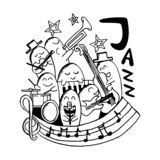 Jazz music hand drawn monster doodle stock illustration