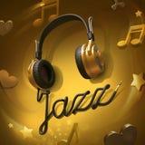 Jazz music headphones stock photography