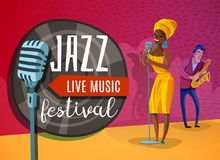Jazz Music Horizontal Poster Images libres de droits