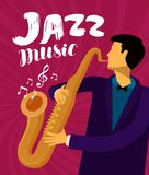 Jazz Music Il musicista gioca il sassofono Illustrazione di vettore royalty illustrazione gratis