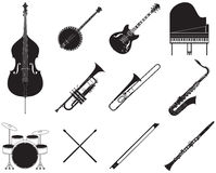 Jazz music instruments set Stock Photos