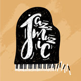 Jazz music lettering composition, inscription with grand piano. hand drawn illustration for poster, placard. Royalty Free Stock Photography