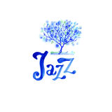 Jazz music logo poster template. Abstract watercolor background for card, flyer, leaflet, brochure, banner, web design. Stock Image