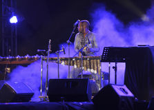 Jazz music. Musicians perform jazz music on a stage in the city of Solo, Central Java, Indonesia Royalty Free Stock Photo