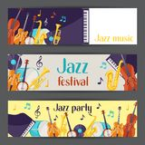 Jazz music party festival banners with musical instruments.  Royalty Free Stock Images
